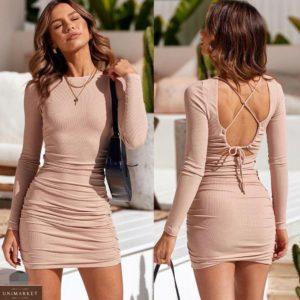 Заказать бежевое цвета капучино трикотажное платье с открытой спиной для женщин выгодно