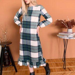Замовити зеленого кольору сукню з тонкого кашеміру в клітку для жінок онлайн