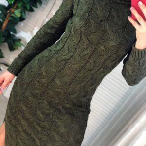 Заказать женское цвета хаки вязаное теплое платье миди с длинным рукавом не осень по скидке