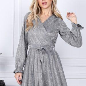 Купити зі знижкою жіночу святкову сукню А-силуету з люрексом (розмір 42-54) срібло онлайн