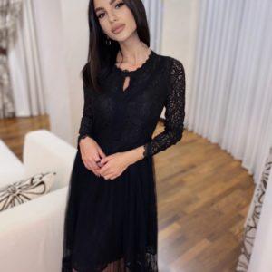 Купити жіночу ніжну сукню з гіпюру з довгим рукавом чорного кольору за низькими цінами