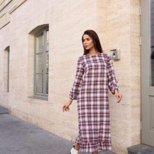 Приобрести недорого платье в клетку с длинным рукавом для женщин (размер 42-54) бордового цвета