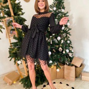 Придбати на новий рік жіноче нарядне плаття з сіткою в горошок чорного кольору недорого