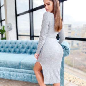 Купити жіночу на осінь трикотажну сукню з ангори щільної в'язки сірого кольору (розмір 42-50) недорого