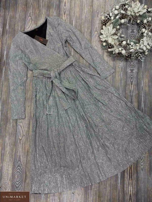 Купить серебристое женское платье плиссе с люрексом дешево