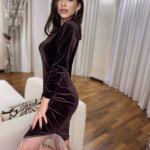 Замовити онлайн жіноче оксамитове плаття з бахромою чорного кольору
