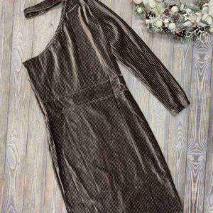 Замовити темно-сіре жіноче оксамитове плаття міді на одне плече онлайн