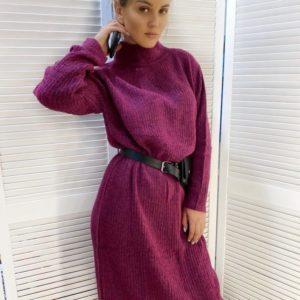 Приобрести платье-гольф женское из ангоры сиреневое длины миди недорого