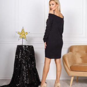 Приобрести черное женское платье из ангоры с кружевом на бретельках в интернете