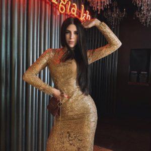 Купить золотое вечернее платье с рисунком для женщин из пайеток на сетке выгодно