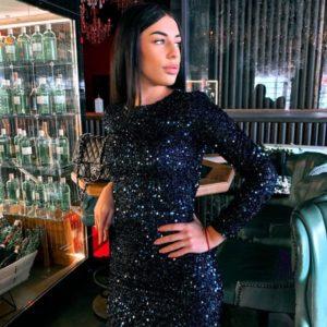 Заказать синего цвета закрытое мини платье в пайетки недорого для женщин
