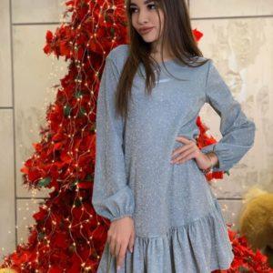 Купить женское платье на корпоратив с рюшей из люрекса голографик (размер 42-48) голубого цвета