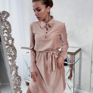 Замовити жіночу кольору марсала сукня-сорочка з вельвету з поясом онлайн