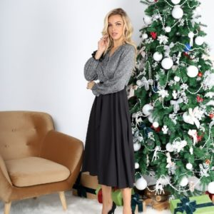 Купити на корпоратив жіночу сукню з довгим рукавом з люрексом (розмір 42-54) чорну / срібло вигідно