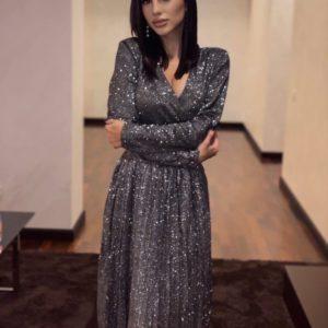 Купити графіт жіноче плаття плісе з люрексом недорого