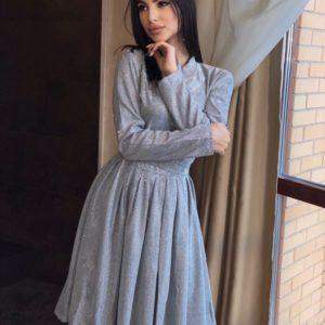 Купити сріблясте закрите блискуче плаття з довгим рукавом для жінок вигідно
