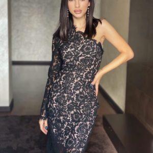 Замовити онлайн жіноче ажурне вечірнє плаття на одне плече чорного кольору на свято