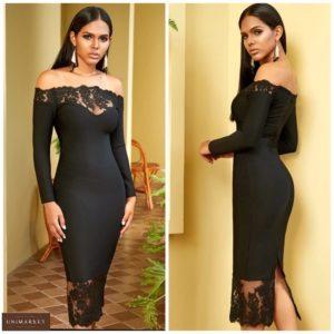 Заказать черное элегантное женское платье с открытыми плечами и декольте недорого