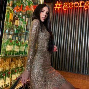 Приобрести золотое женское вечернее платье с рисунком из пайеток на сетке в интернете