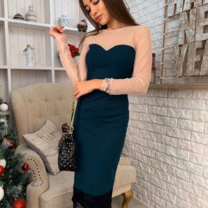 Купить зеленое женское платье миди по фигуре с сеткой и кружевом в интернете