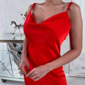 Купити червоне плаття-комбінація на бретельках на свято для жінок