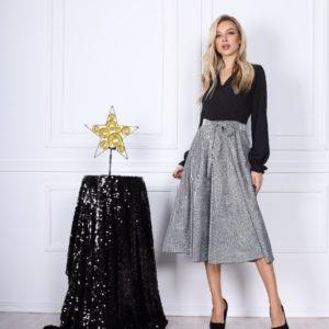 Замовити жіноче плаття з довгим рукавом з люрексом (розмір 42-54) кольору срібло по знижці