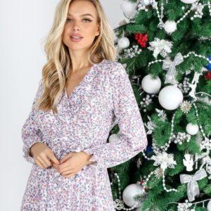 Купить белое женское платье миди в цветочный принт (размер 42-54) онлайн