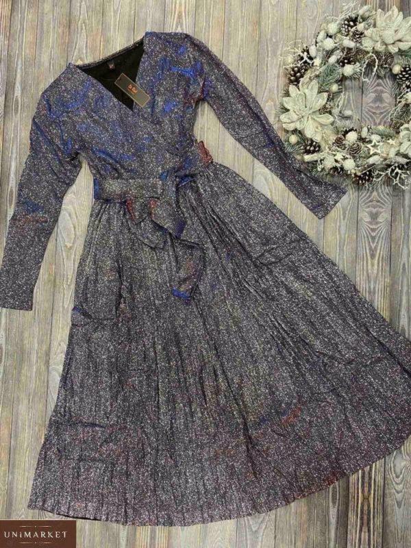 Купить женское платье плиссе с люрексом цвета графит по скидке