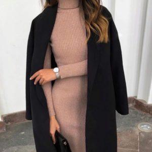 Купить мокко женское трикотажное платье-гольф из акрила в интернете