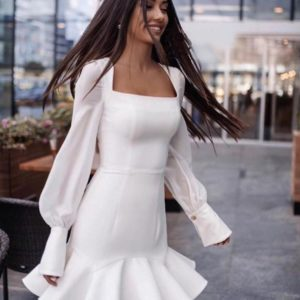 Купить белое милое платье мини с воланом для женщин онлайн