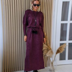 Купить теплое платье для женщин в пол с кружевными вставками фиолетовое (размер 42-56) выгодно