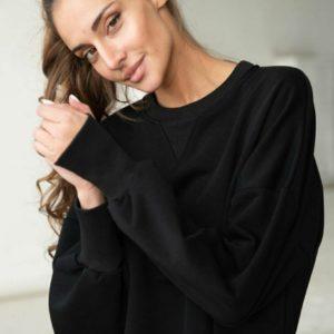 Заказать черное женское платье макси в спортивном стиле на флисе выгодно
