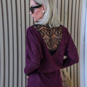 Приобрести недорого теплое платье в пол с кружевными вставками (размер 42-56) для женщин фиолетового цвета