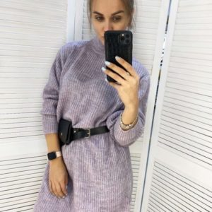 Приобрести лиловое женское платье-гольф из ангоры длины миди в Украине