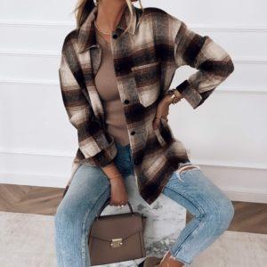 Заказать коричневую рубашку женскую в клетку из кашемира онлайн