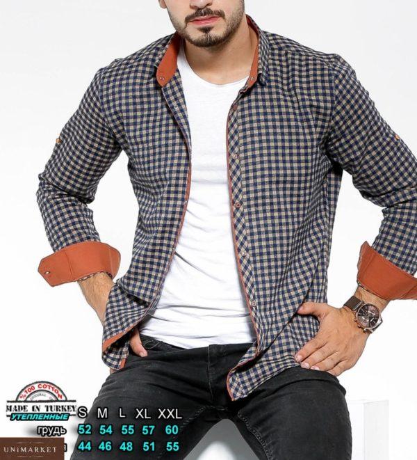 Купить серую утепленную рубашку в клетку с цветными манжетами (размер 46-54) для мужчин выгодно на осень