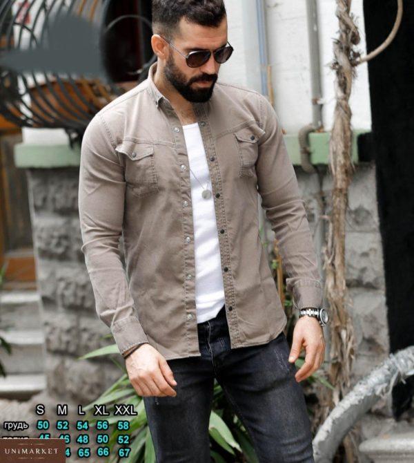Купить серо-бежевую мужскую джинсовую рубашку на кнопках (размер 46-54) выгодно