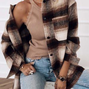 Приобрести женскую рубашку в клетку из кашемира коричневого цвета дешево