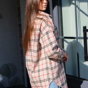 Купить беж удлиненную рубашку в клетку из тонкого кашемира для женщин на осень в интернете