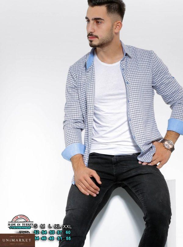 Купить бело-голубую утепленную рубашку в клетку с цветными манжетами (размер 46-54) для мужчин по низким ценам