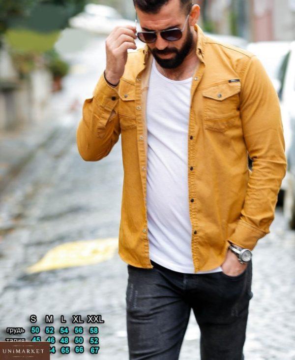 Заказать цвета горчица мужскую джинсовую рубашку на кнопках (размер 46-54) по скидке