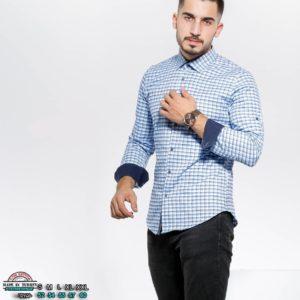 Заказать светло-голубую мужскую на осень утепленную рубашку в клетку с цветными манжетами (размер 46-54) в интернете