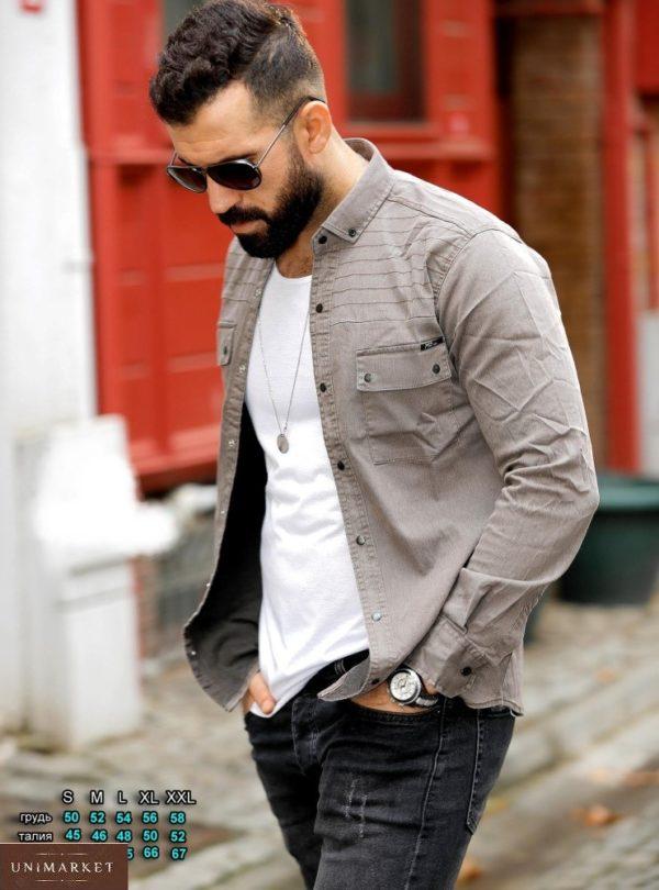 Заказать серо-бежевого цвета мужскую джинсовую рубашку на кнопках (размер 46-54) в интернете на осень