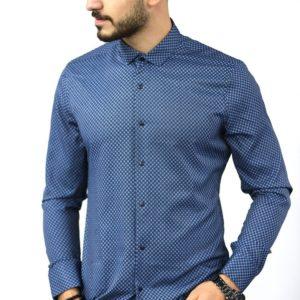 Купить синюю мужскую хлопковую рубашку в мелкий узор (размер 46-54) онлайн