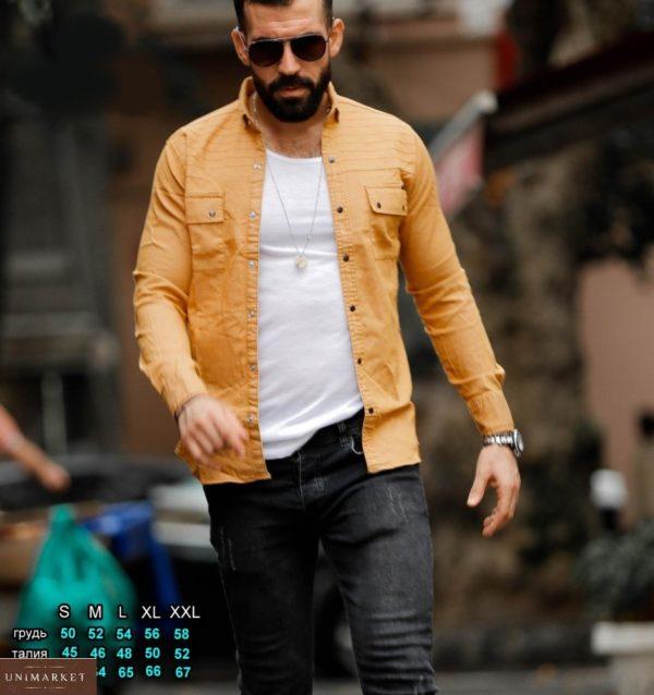 Приобрести цвета горчица мужскую джинсовую рубашку на кнопках (размер 46-54) выгодно