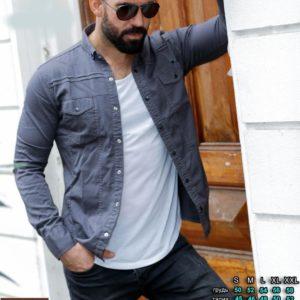 Купить серую онлайн джинсовую рубашку на кнопках (размер 46-54) для мужчин