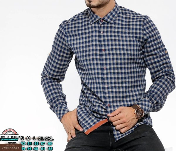 Приобрести серо-синюю мужскую утепленную рубашку в клетку с цветными манжетами (размер 46-54) недорого