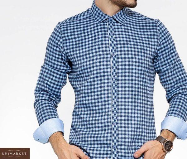 Заказать сине-голубую утепленную мужску рубашку в клетку с цветными манжетами (размер 46-54) в интернете