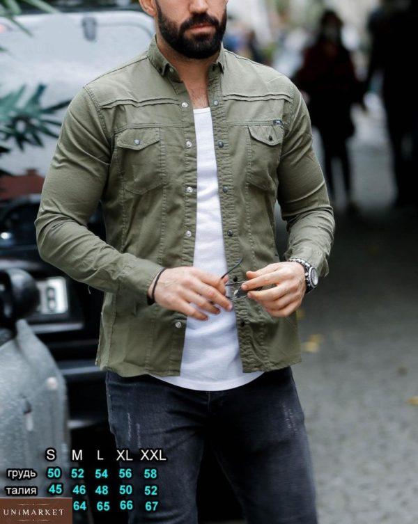 Купить джинсовую рубашку цвета хаки для мужчин на кнопках (размер 46-54) онлайн