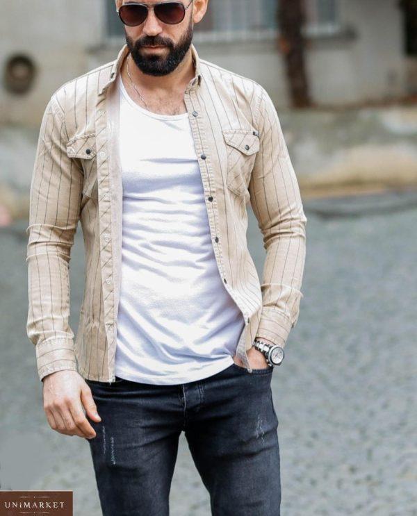 Приобрести беж в полоску джинсовую рубашку на кнопках (размер 46-54) для мужчин дешево